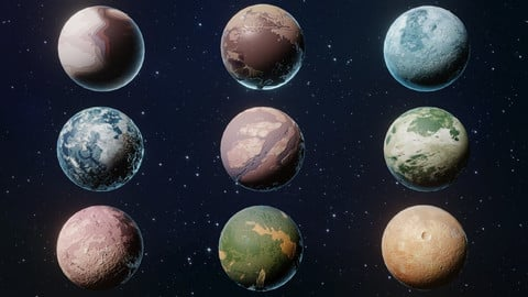 Alien Sci-Fi Planets 3D Models Pack