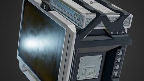 Sci-Fi Terminal PBR game-ready asset Low-poly 3D model
