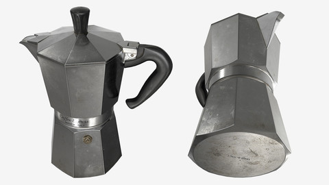 Low-poly PBR Coffee Kettle - 005