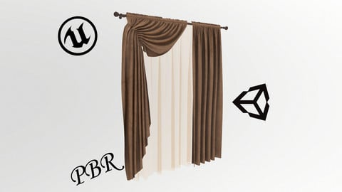 №606 Curtain  3D low poly models for game development and VR-projects