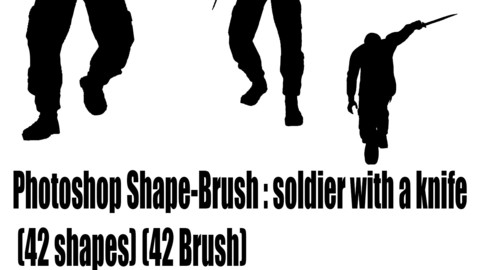 Photoshop Shape-Brush : soldier with a knife  (42 shapes) (42 Brush)