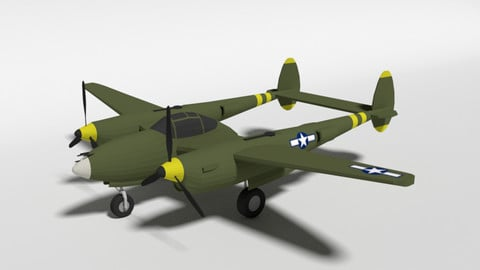 Low Poly Cartoon Lockheed P38 - Lighting WWII Airplane