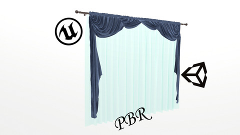 №1004 Curtain  3D low poly models for game development and VR-projects