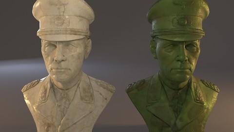 Erwin Rommel Bust Low Poly