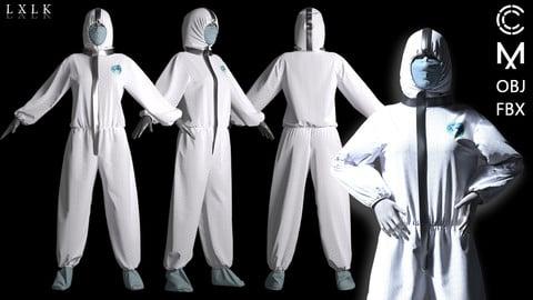 Women's Protective gear / Protective suit / Hazmat suit - Marvelous Designer, CLO3D
