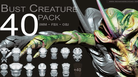 40 Creature Bust - Zbrush IMM Pack / FBX / OBJ