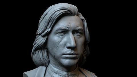Kylo Ren aka Ben Solo (Adam Driver) - 3d Printable bust