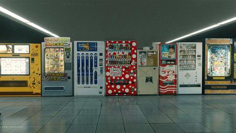 Funky Japanese vending machine assets for Blender