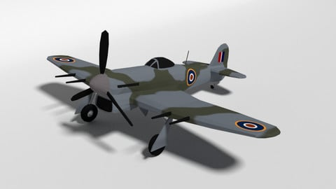 Low Poly Cartoon Hawker Typhoon WWII Airplane