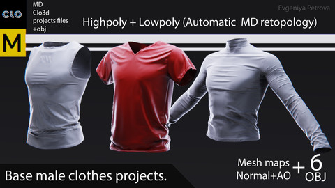 Base male clothes. Clo3d, MD projects + Highpoly and Lowpoly OBJ + Mesh maps