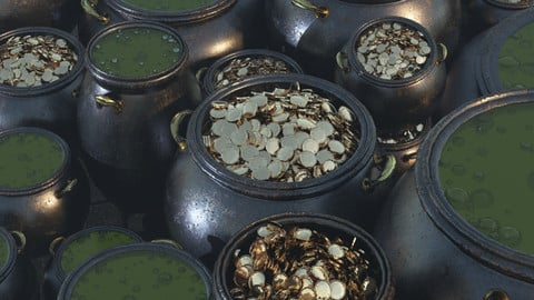 3D Cauldrons with Potion and Coins