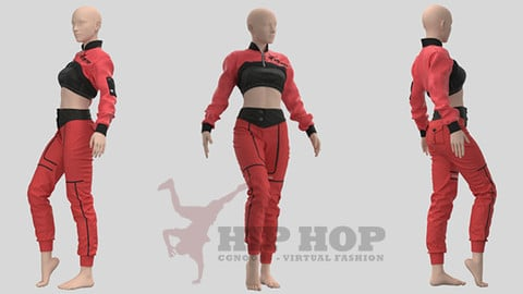Women Hiphop Jumpsuit - 34 Marvelous Designer and Clo3D