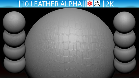 10 Leather Alpha Fabric (ZBrush, Substance, 2K, PSD)