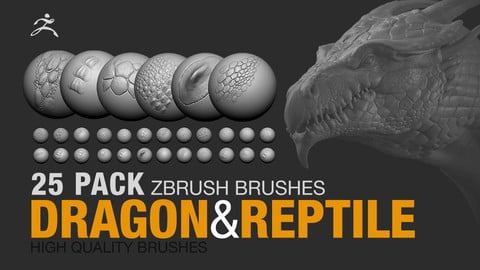 25 PACK - Dragon and Reptile Brushes