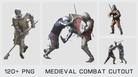 MEDIEVAL COMBAT CUTOUT - Photo reference pack - 120+ PNG