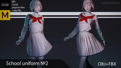 Clo3d, Marvelous designer School uniform №3 OBJ+FBX