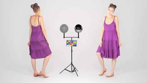 Beautiful young girl in a purple dress 151