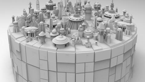 Kitbash Futuristic SciFi 26+ Buildings Pack