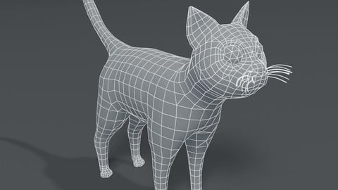 Cartoon Cat Base Mesh 3D Model
