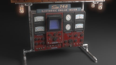 Sun740 Steampunk Table Lamp 3D model