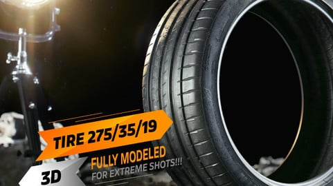 3D Sports Car Tire