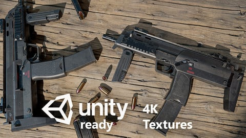 MP7 submachinegun 4K PBR Textures AAA Low-poly 3D model