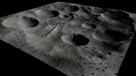 Map004 - Moon - lunar landscape in Blender