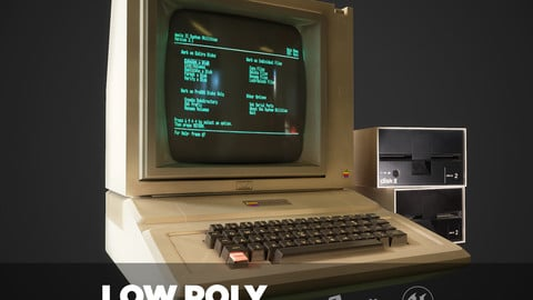 Apple II computer - PBR Game Ready model VR-AR Low-poly