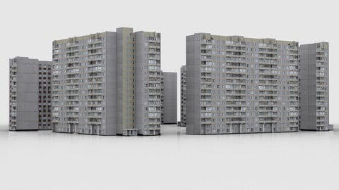 Pack of 6 Russian Panel Apartment Buildings P44 Type