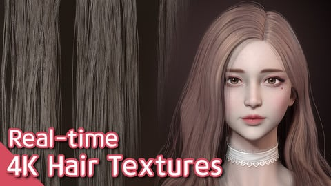 Hair Textures for real-time game character (4K)