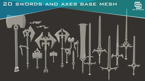 20 Swords & Axe Basemeshes
