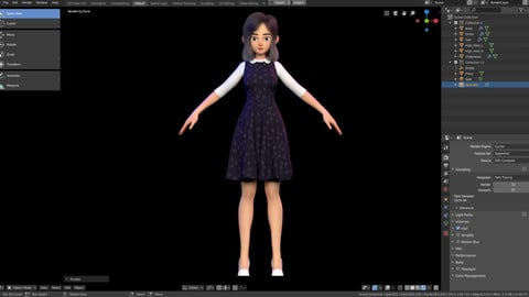 Amy Girl Stylized Character No 5 for Blender Cycles and Eevee
