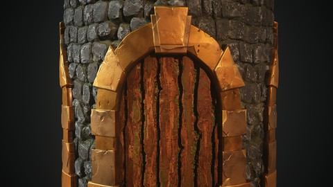 4k PBR Texture Of Stylized Stone wall Door
