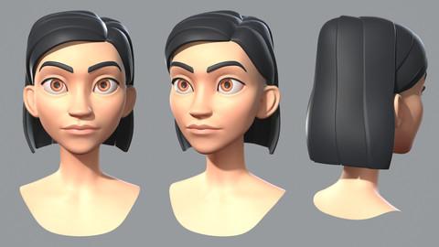 Cartoon female character base mesh