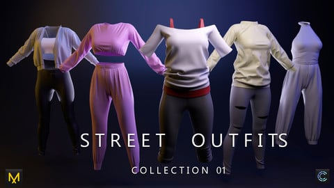 Street outfits Collection 01 Marvelous Designer Patterns