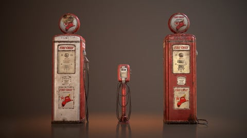 Old Gas And Air Pumps - Low Poly