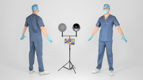 Surgical doctor male ready for animation 112