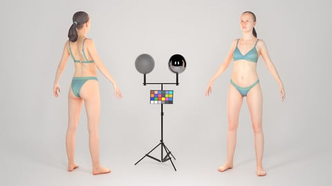 Slender young woman in a swimsuit ready for animation 161