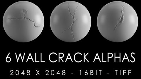 6 wall crack sculpting Brushes / Alphas (2K)