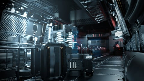24 Sci-Fi 3D models - Interior Asset Pack