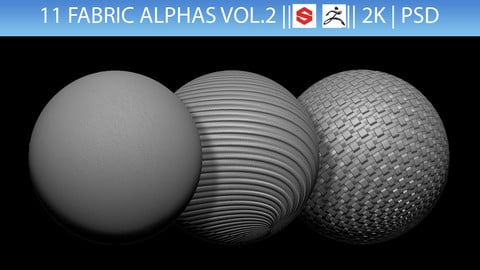 11 Fabric Alphas Vol.2 (ZBrush, Substance, 2K)