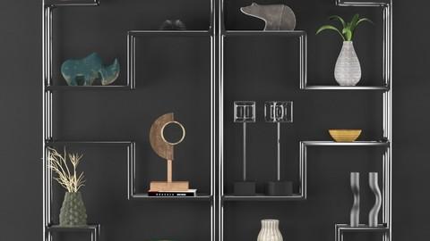 Metal Shelf Decorative Set 3D