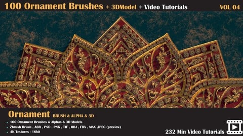 100 Ornament Brushes and 3D Models + 3 Video Tutorials-VOL 04