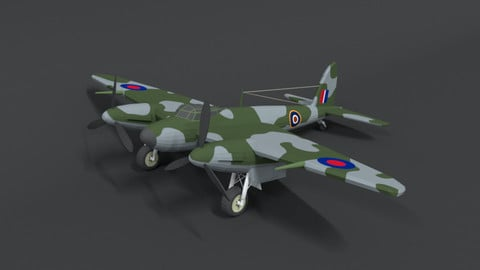 Low Poly Cartoon De Havilland DH 98 Mosquito WWII Airplane
