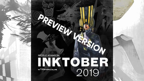 Watercolor Inktober 2019 Free Preview