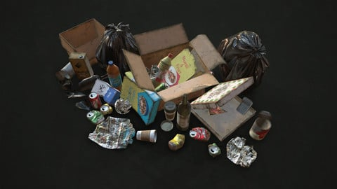 Urban Trash with Garbage Bags - Low Poly