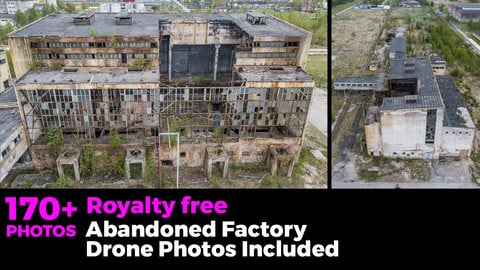 Abandoned factory inside and outside. With green grass and bushes. Drone photos included.