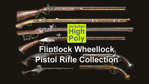 Weapon - Gun - Flintlock Wheellock Pistol Rifle Pack Bundle