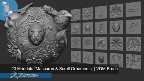 20 Mandala, Mascaron & Scroll Ornaments | VDM Brush -Zbrush
