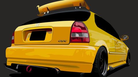Yellow Honda civic ek9 car illustration ai.